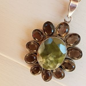 Vintage Moss Agate/Smoky Topaz Pendant  & Chain